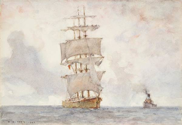 Newlyn Painting - Barque And Tug by Henry Scott Tuke