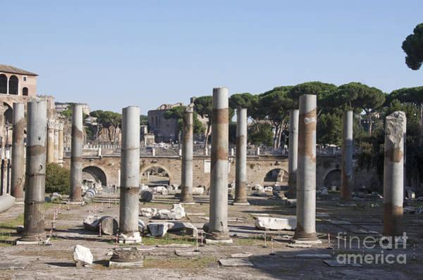 Wall Art - Photograph - Base Of Trajan's Column And The Basilica Ulpia. Rome by Bernard Jaubert