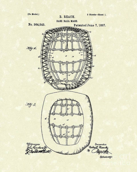 Drawing - Baseball Mask 1887 Patent Art by Prior Art Design