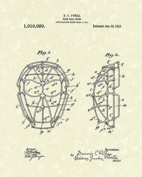 Wall Art - Drawing - Baseball Mask 1912 Patent Art by Prior Art Design