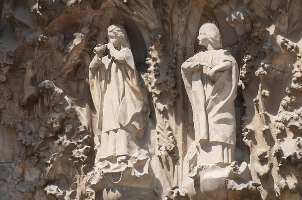 Photograph - Basilica Sagrada Familia Nativity Facade Detail by Matthias Hauser