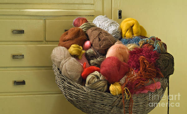 Chest Of Drawers Photograph - Basket Of Yarn by Noam Armonn