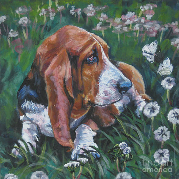 Wall Art - Painting - Basset Hound With Butterflies by Lee Ann Shepard