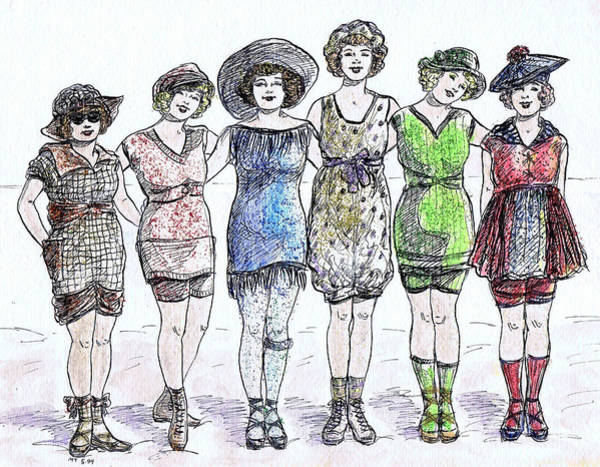 Flappers Drawing - Bathing Beauties by Mel Thompson