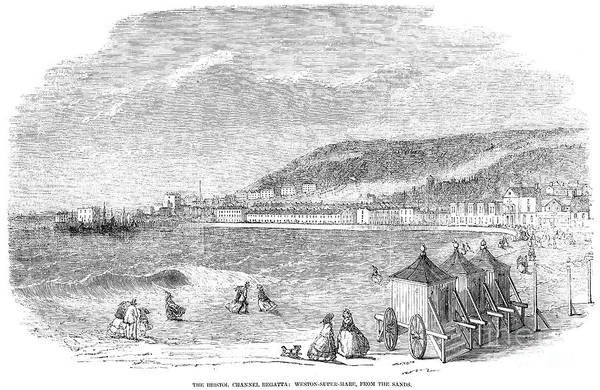 Bristol Channel Photograph - Bathing Machine, 1856 by Granger
