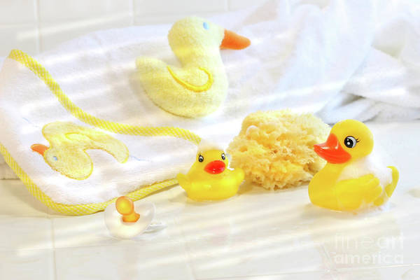 Rubber Ducky Photograph - Bathtime For Baby by Sandra Cunningham