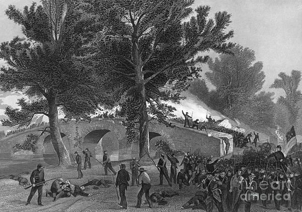 Burnside Bridge Photograph - Battle Of Antietam, 1862 by Photo Researchers