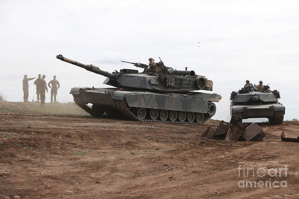 Firepower Photograph - Battle Tanks On The Move by Stocktrek Images