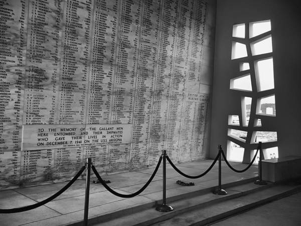 Uss Arizona Wall Art - Photograph - Battleship Arizona Memorial Wall - Pearl Harbor Hawaii by Daniel Hagerman