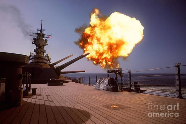 Gunfire Photograph - Battleship Uss Wisconsin Fires One by Stocktrek Images