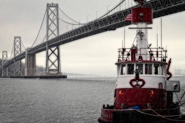 Fireboat Wall Art - Photograph - Bay Bridge And Fireboat In The Rain by Jarrod Erbe