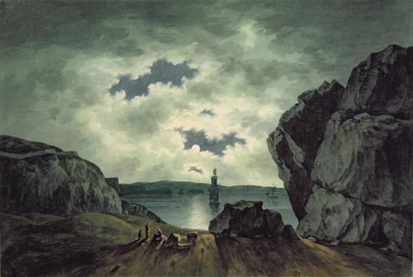 Smith Rock Painting - Bay Scene In Moonlight by John Warwick Smith