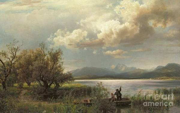 Punt Painting - Bayern Landscape by Augustus Wilhelm Leu