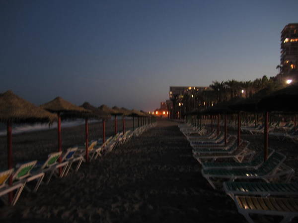 Photograph - Beach Chairs At Sunset Costa Del Sol Spain by John Shiron