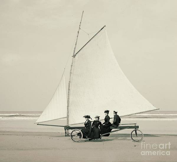 Ormond Photograph - Beach Sailing In Ormond Florida 1900 by Padre Art