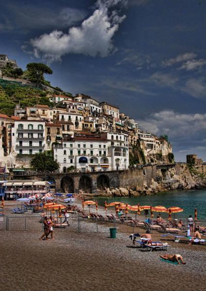 Mediterranean Photograph - Beach Scene In Amalfi On The Amalfi Coast In Italy by David Smith