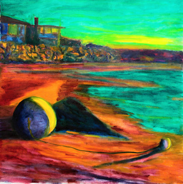 Photograph - Beached Anchor Balls Under Painting by Jeremy McKay