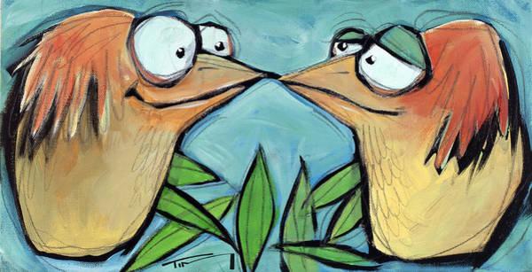 Painting - Beak To Beak On A Branch by Tim Nyberg