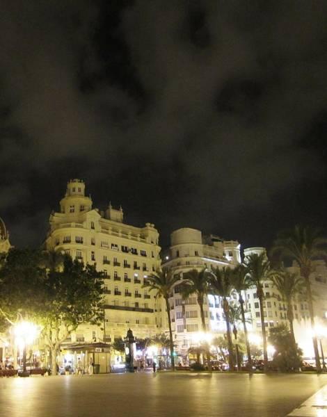 Photograph - Beautiful Valencia Square Architecture Night Life Street Lamp Poles II Spain by John Shiron