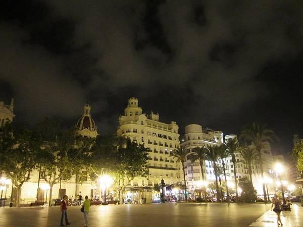 Photograph - Beautiful Valencia Square Architecture Night Life Street Lamp Poles IIi Spain by John Shiron