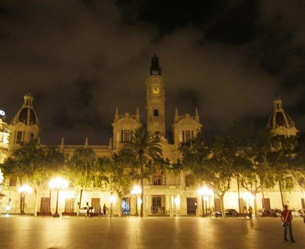 Photograph - Beautiful Valencia Square Architecture Night Life Street Lamp Poles Spain by John Shiron