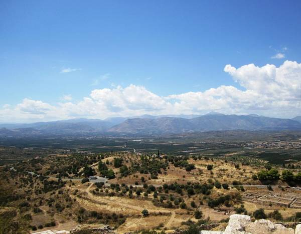 Photograph - Beautiful View Of Nature Pastures From The Ancient Hilltop Mountain Range In Mycenae Greece by John Shiron