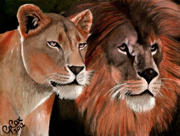 Chris Cox Painting - Beauty And Her Beast by Chris Cox