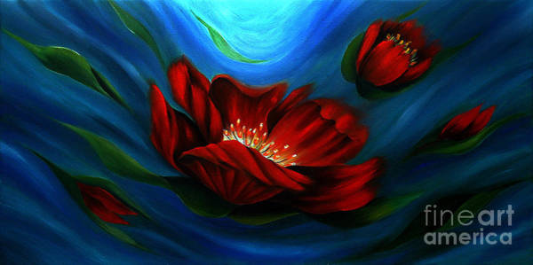 Gerbera Painting - Beauty Of Red Flower by Uma Devi