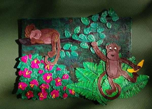 Banana Leaf Mixed Media - Bedtime For Monkeys by Sarah Swift