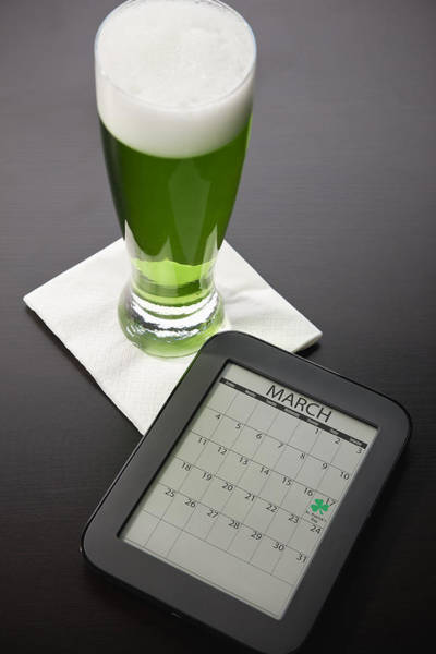 E-reader Wall Art - Photograph - Beer Mug With Green Beer And Tablet by Vstock LLC