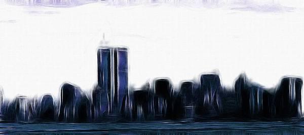 Manhattan Skyline Painting - Before 9 11 by Steve K