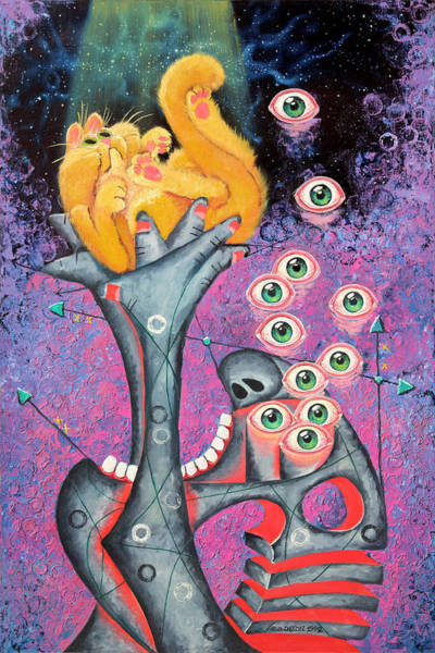 Eyeballs Painting - Behold The Golden Kitten by Baron Dixon