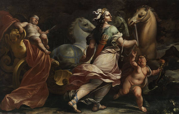 Goddess Of Love Wall Art - Painting - Bellona Takes Possession Of Weapons Of Cupid by Carlo Cignani