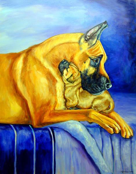 Great Dane Painting - Belonging by Lyn Cook