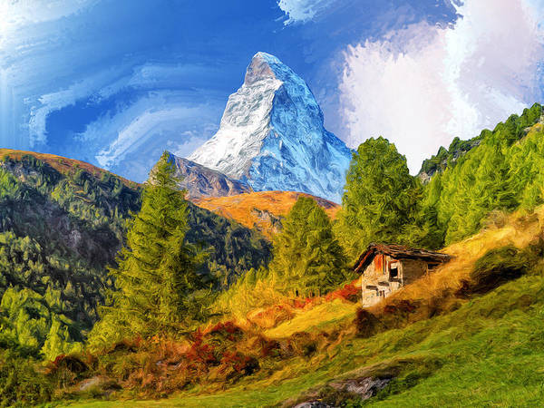Alpine Meadow Painting - Below The Matterhorn by Dominic Piperata