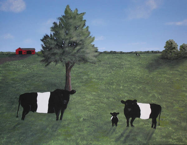 Wall Art - Painting - Belted Galloway Family by Candace Shockley