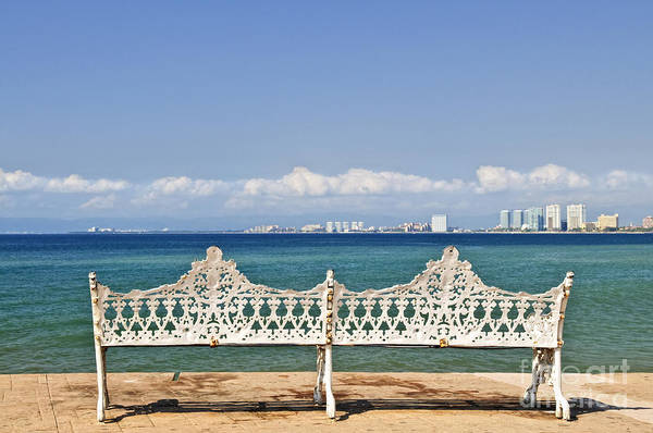 Wall Art - Photograph - Bench On Malecon In Puerto Vallarta by Elena Elisseeva
