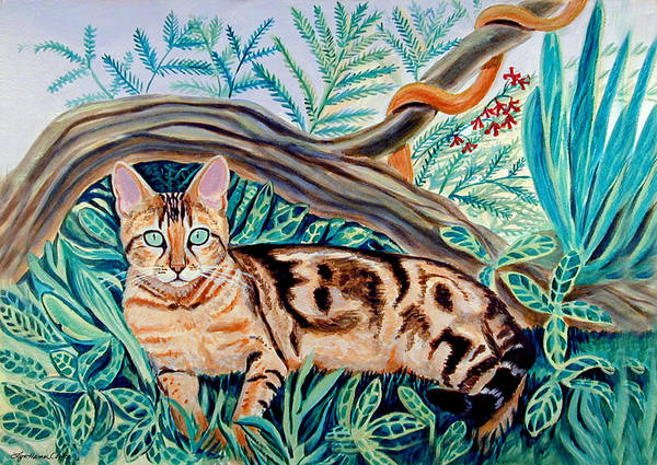 Rain Forest Painting - Bengal Cat by Lyn Cook