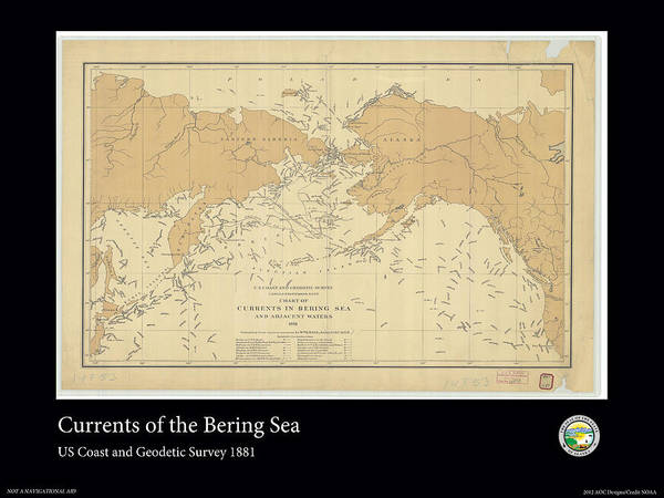 Noaa Chart Wall Art - Photograph - Bering Sea Currents 1881 by Adelaide Images