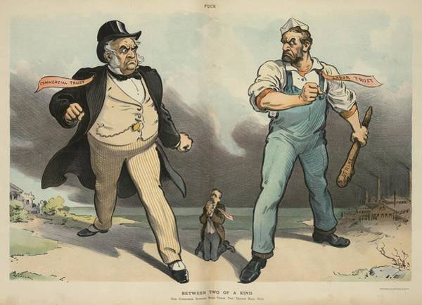 Monopoly Photograph - Between Two Of A Kind. Cartoon Portrays by Everett