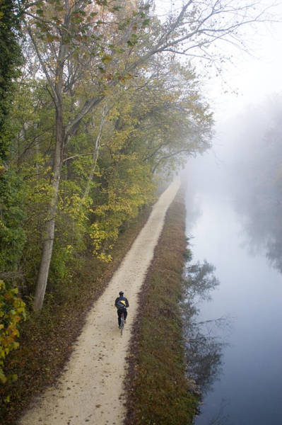 Chesapeake And Ohio Wall Art - Photograph - Bicyclist Riding To Work On The Towpath by Skip Brown