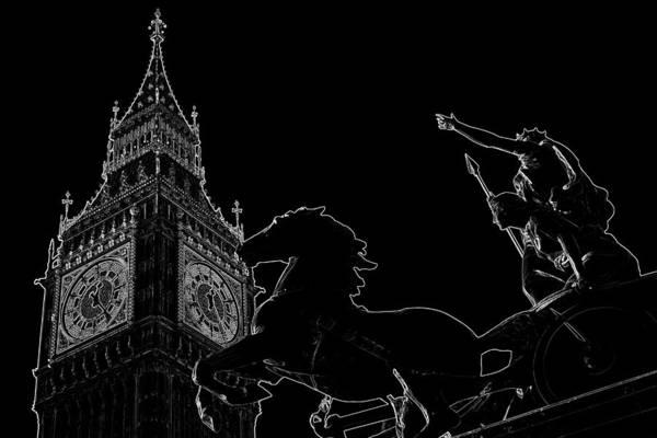 Wall Art - Digital Art - Big Ben And Boudica by David Pyatt