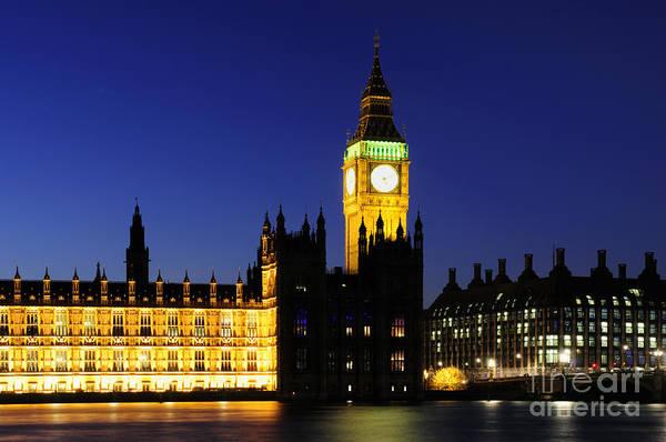 Wall Art - Photograph - Big Ben And River Thames At Night by Liz Pinchen