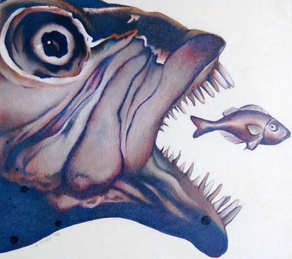 Carnivorous Drawing - Big Fish Small Fry by Joan Pollak