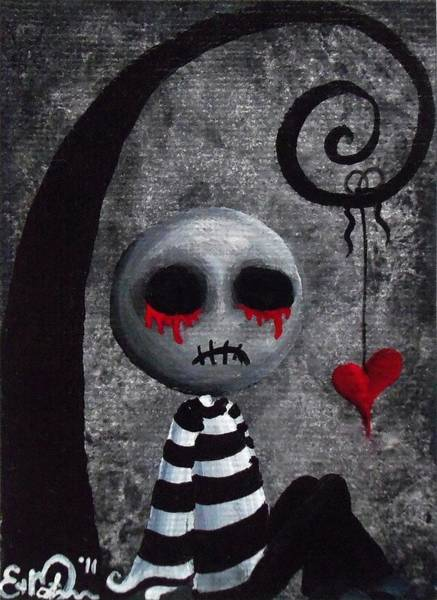 Voodoo Doll Painting - Big Juicy Tears Of Blood And Pain 2 by Oddball Art Co by Lizzy Love