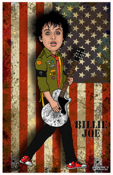 Glam Rock Digital Art - Billie Joe Armstrong by John Goldacker