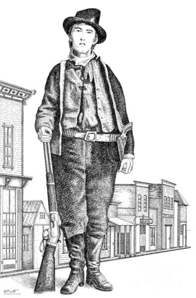 Drawing - Billy-the-kid by Gordon Punt