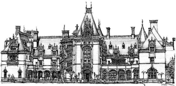 Antlers Drawing - Biltmore House In Asheville by Building  Art