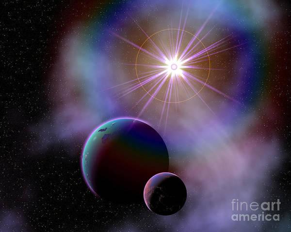 Cosmology Digital Art - Binary Worlds Orbiting Each Other by Mark Stevenson