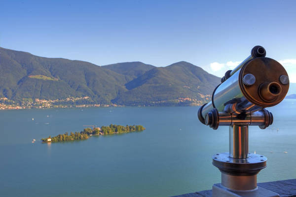 Wall Art - Photograph - Binoculars Focused On The Isole Di Brissago by Joana Kruse